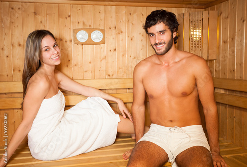 Sauna bath in a steam room