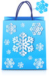 Blue Christmas shopping bag with paper snowflakes