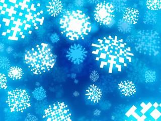 snowflakes background in retro pixel style