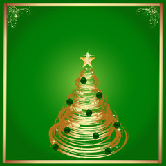 Christmas-Green & Gold Frame