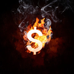 Dollar symbol in fire flames
