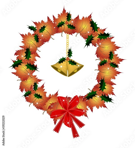 Christmas Wreath of Orange Maple with Golden Bells