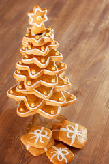 Gingerbread christmas tree.Gingerbread cookies stacked as christ