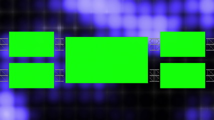 Looping Background Blue Abstract Blocks and Green Screens