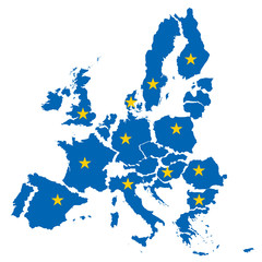 map of European Union- concept of disintegration of the EU