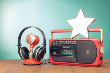 Star blank, retro radio cassette player, microphone, headphones