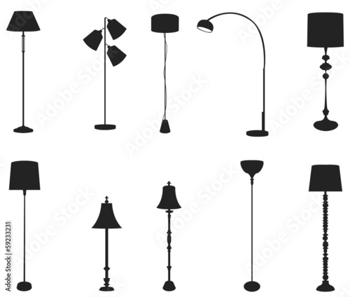 Sets of silhouette floor lamps, create by vector