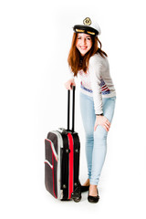young and beautiful woman with a suitcase