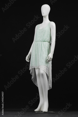 evening gown dress on a female mannequin on black background
