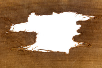 background of burlap with a white hole for writing text.