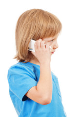 Portrait of a Boy Talking on Mobile Phone