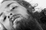 closeup wild hipster face long beard