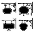 Set of retro graphic forged signboards - 59239049