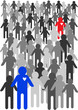 vector cartoon illustration of crowd of people