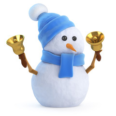 Cute snowman rings the bells