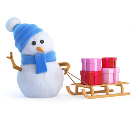 Cute snowman has a sleigh full of presents