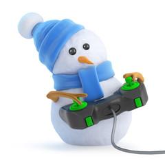 Cute snowman plays a videogame