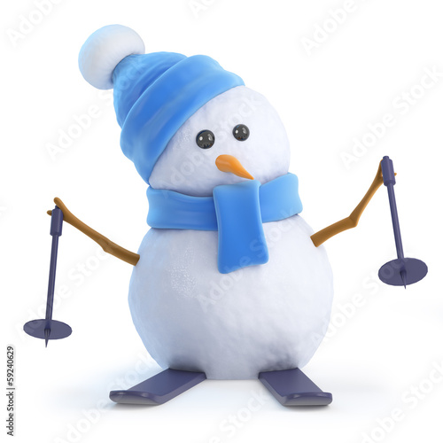 Cute snowman goes skiing