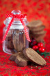 Chocolate coffee biscotti in glass jar, selective focus