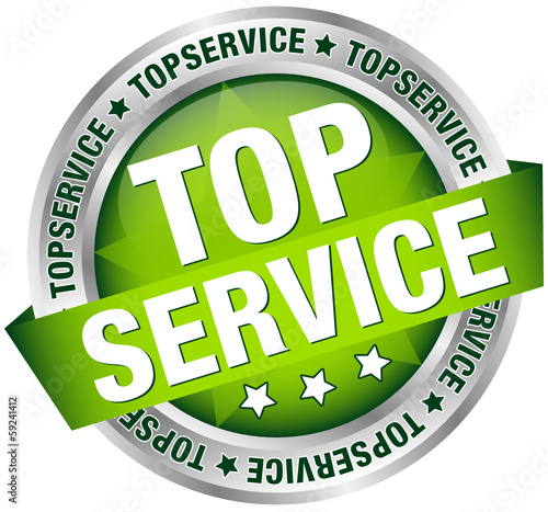 "Button Banner ""Topservice"" grün/silber"