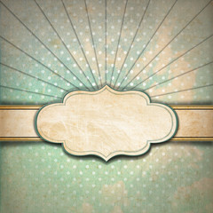 Vintage Sunbeams Background with Label