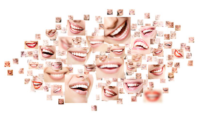 Perfect smiles. Collection of beautiful wide human smiles with g