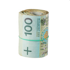 roll of one hundred polish zloty on a white background
