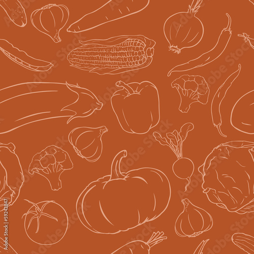 vector seamless pattern of vegetables