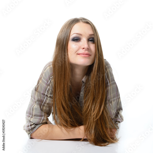 young cute attractive woman portrait with long fair hair looking