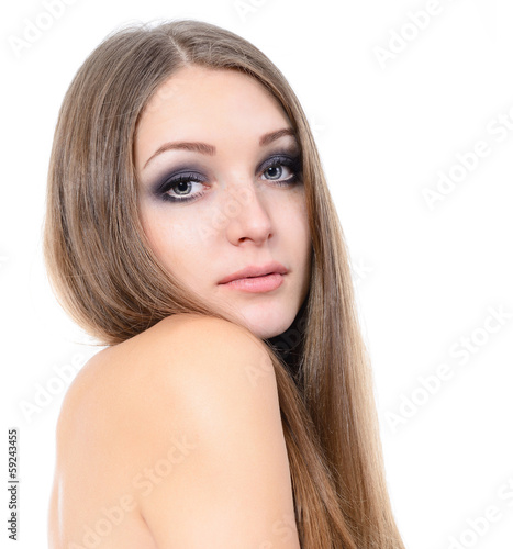 young beautiful woman portrait with long fair hair over white