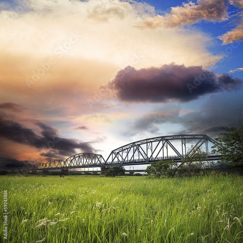 Old iron truss bridge for adv or others purpose use