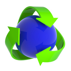 Blue sphere recycle symbol