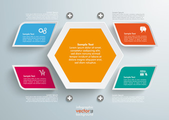 4 Colored Bevel Rectangles Hexagon Infographic