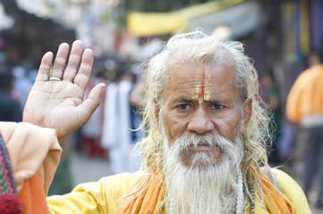 old monk , Hindu sadhu , Rajasthan , India