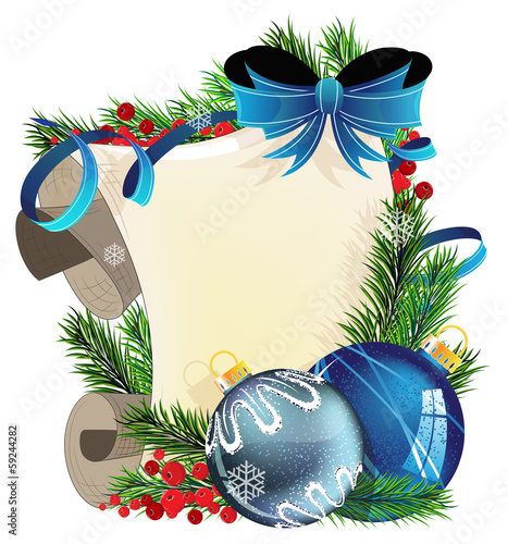 Blue baubles and paper scroll