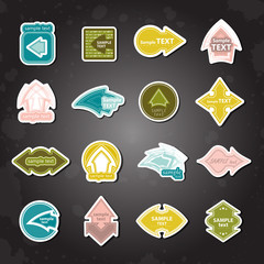 Arrows Labels Set - Isolated On Black Background