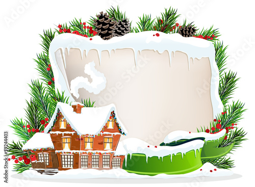 Brick house and Christmas wreath