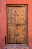 wooden door in Santa Catalina monastery Arequipa Peru