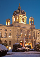 Vienna - Art history museum in winter eveing