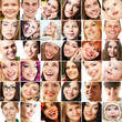 Collage of smiling faces. Collection of beautiful human faces wi
