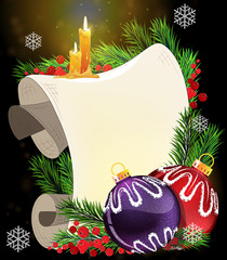 Paper scroll with  candles and Christmas baubles