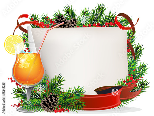 Orange cocktail, spruce branches and paper scroll