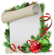 Paper scroll with green and red baubles