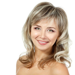 mid adult woman portrait, face of attractive caucasian middle 40