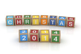 The word Christmas 2014 in wooden toy blocks