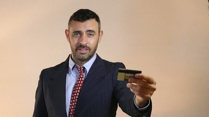 Man offering credit card