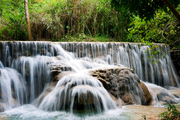 Waterfall in Tropical Rainforest