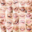 Perfect smiles. Set of 25 beautiful wide human smiles with great