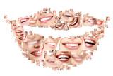 Fototapety Smile collage of perfect smiling faces closeup. Conceptual set o