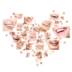 Heart collage of perfect smiles. Set of beautiful wide human smi
